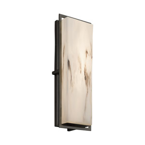 LumenAria - Avalon Matte Black 18-Inch LED Outdoor Wall Sconce with Cream Faux Alabaster Resin