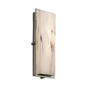 LumenAria - Avalon Brushed Nickel 18-Inch LED Outdoor Wall Sconce with Cream Faux Alabaster Resin