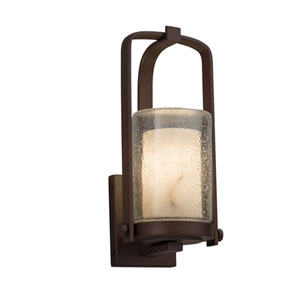 LumenAria - Atlantic Dark Bronze One-Light Outdoor Wall Sconce with Cream Faux Alabaster Resin