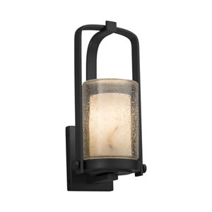 LumenAria - Atlantic Matte Black One-Light Outdoor Wall Sconce with Cream Faux Alabaster Resin