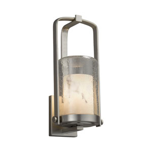 LumenAria - Atlantic Brushed Nickel One-Light Outdoor Wall Sconce with Cream Faux Alabaster Resin