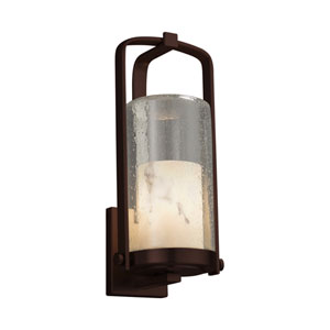 LumenAria - Atlantic Dark Bronze 17-Inch LED Outdoor Wall Sconce with Cream Faux Alabaster Resin