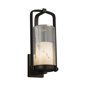 LumenAria - Atlantic Matte Black 17-Inch LED Outdoor Wall Sconce with Cream Faux Alabaster Resin