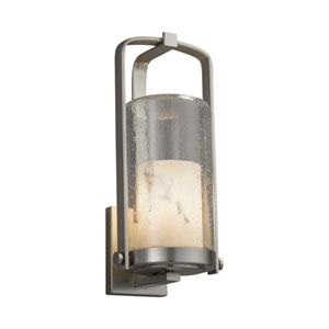 LumenAria - Atlantic Brushed Nickel 17-Inch One-Light Outdoor Wall Sconce with Cream Faux Alabaster Resin