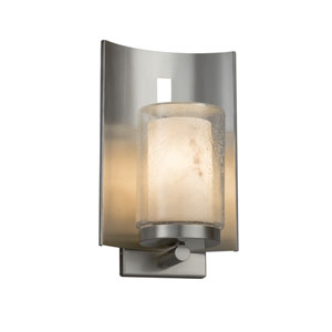 LumenAria - Embark Brushed Nickel One-Light Outdoor Wall Sconce with Cream Faux Alabaster Resin
