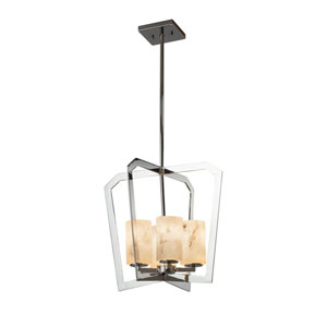 LumenAria - Aria Polished Chrome Four-Light LED Chandelier with Cream Faux Alabaster Resin