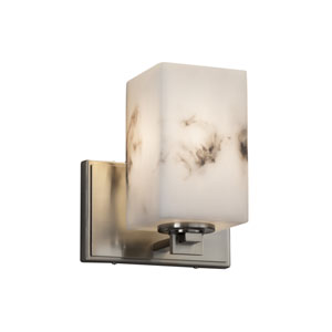 LumenAria - Era Brushed Nickel One-Light Wall Sconce with Cream Faux Alabaster Resin