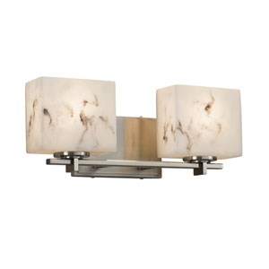 LumenAria - Era Brushed Nickel Two-Light Bath Vanity with Cream Faux Alabaster Resin