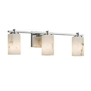 LumenAria - Era Polished Chrome Three-Light LED Bath Vanity with Cream Faux Alabaster Resin