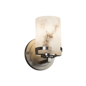 LumenAria - Atlas Brushed Nickel One-Light Wall Sconce with Cream Faux Alabaster Resin