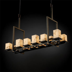 LumenAria Montana 12-Up and Five-Downlight Dark Bronze Tall Bridge Chandelier