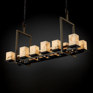 LumenAria Montana 12-Up and Five-Downlight Dark Bronze Short Bridge Chandelier