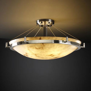 LumenAria 24-Inch Round 5000 Lumen LED Semi-Flush Mount with Ring