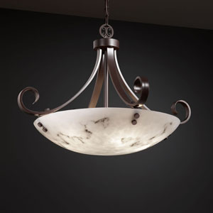 LumenAria Scrolls with Finials 24-Inch Six-Light Dark Bronze Pendant Bowl Scrolls With Finials