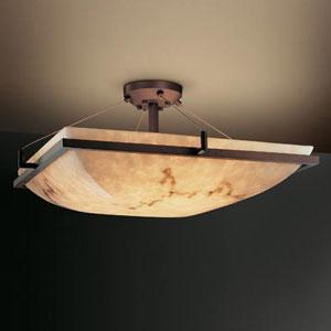 LumenAria 24-Inch Square 5000 Lumen LED Semi-Flush Mount with Ring