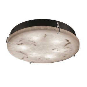 LumenAria Brushed Nickel Two-Light 12-Inch Wide Fluorescent Round Clips Flush Mount