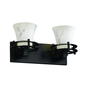 LumenAria™  Dark Bronze Two-Light Bath Sconce with Faux Alabaster Glass