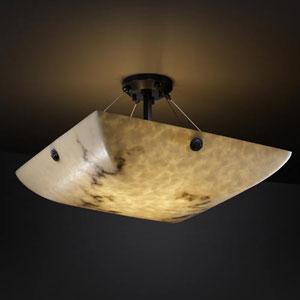 LumenAria 18-Inch 3000 Lumen LED Semi-Flush Mount with Concentric Circles Finials