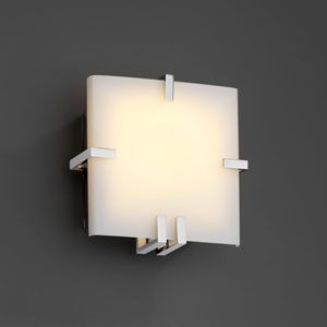 Fusion Clips Square Fluorescent Polished Chrome Wall Sconce