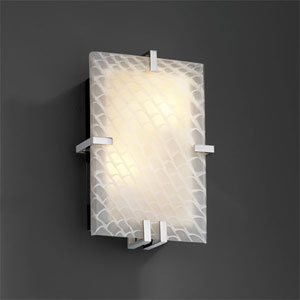 Fusion Clips RectangleTwo-Light Fluorescent Polished Chrome Wall Sconce
