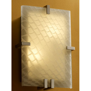 Fusion Clips RectangleTwo-Light Fluorescent Brushed Nickel Wall Sconce