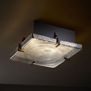 Fusion Clips 12-Inch Two-Light Fluorescent Dark Bronze Square Flush-Mount