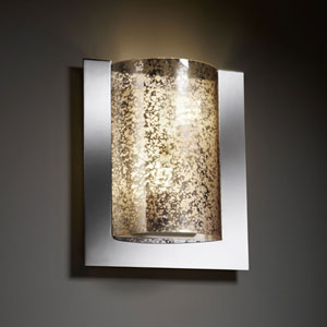 Fusion Framed Rectangle Three-SidedTwo-Light Fluorescent Dark Bronze Wall Sconce