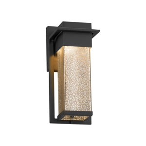 Fusion - Pacific Matte Black LED Outdoor Wall Sconce with Mercury Artisan Glass