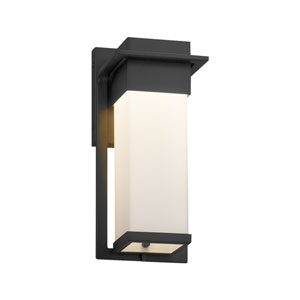 Fusion - Pacific Matte Black LED Outdoor Wall Sconce with Opal Artisan Glass