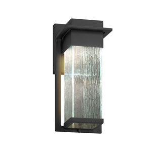 Fusion - Pacific Matte Black LED Outdoor Wall Sconce with Rain Artisan Glass