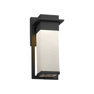 Fusion - Pacific Matte Black LED Outdoor Wall Sconce with Weave Artisan Glass