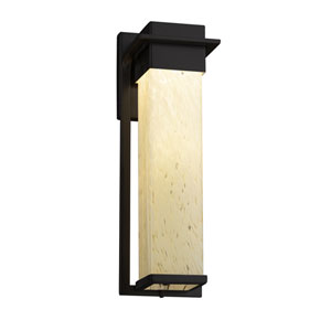 Fusion - Pacific Matte Black LED Outdoor Wall Sconce with Droplet Artisan Glass