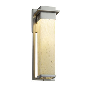 Fusion - Pacific Brushed Nickel LED Outdoor Wall Sconce with Droplet Artisan Glass
