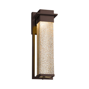 Fusion - Pacific Dark Bronze 17-Inch LED Outdoor Wall Sconce with Mercury Artisan Glass