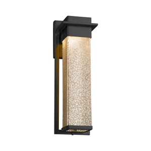 Fusion - Pacific Matte Black 17-Inch LED Outdoor Wall Sconce with Mercury Artisan Glass