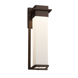 Fusion - Pacific Dark Bronze 17-Inch LED Outdoor Wall Sconce with Opal Artisan Glass