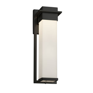 Fusion - Pacific Matte Black 17-Inch LED Outdoor Wall Sconce with Opal Artisan Glass