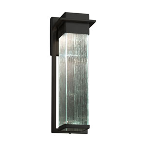 Fusion - Pacific Matte Black 17-Inch LED Outdoor Wall Sconce with Rain Artisan Glass