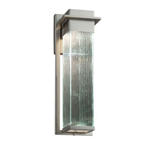Fusion - Pacific Brushed Nickel LED Outdoor Wall Sconce with Rain Artisan Glass