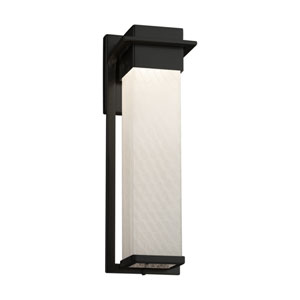 Fusion - Pacific Matte Black 17-Inch LED Outdoor Wall Sconce with Weave Artisan Glass