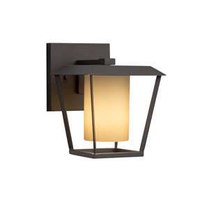 Fusion - Patina Matte Black One-Light Outdoor Wall Sconce with Almond Artisan Glass