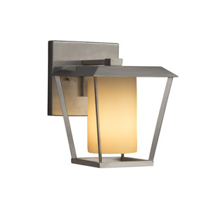Fusion - Patina Brushed Nickel One-Light Outdoor Wall Sconce with Almond Artisan Glass