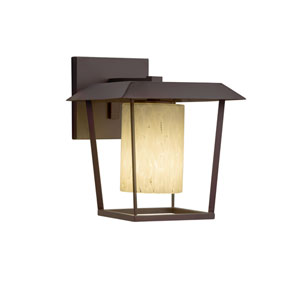 Fusion - Patina Dark Bronze One-Light Outdoor Wall Sconce with Droplet Artisan Glass