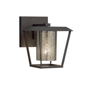 Fusion - Patina Matte Black One-Light Outdoor Wall Sconce with Mercury Artisan Glass