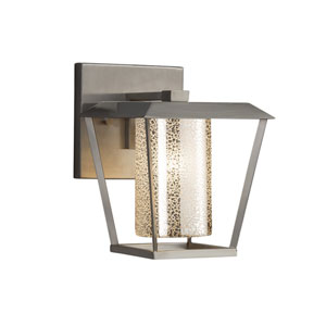 Fusion - Patina Brushed Nickel LED Outdoor Wall Sconce with Mercury Artisan Glass