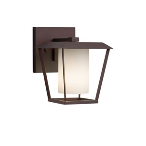 Fusion - Patina Dark Bronze LED Outdoor Wall Sconce with Opal Artisan Glass