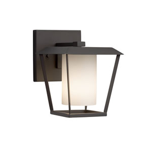 Fusion - Patina Matte Black One-Light Outdoor Wall Sconce with Opal Artisan Glass