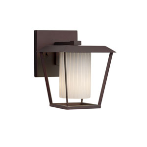 Fusion - Patina Dark Bronze One-Light Outdoor Wall Sconce with Ribbon Artisan Glass