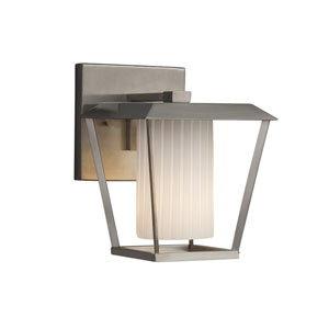 Fusion - Patina Brushed Nickel One-Light Outdoor Wall Sconce with Ribbon Artisan Glass