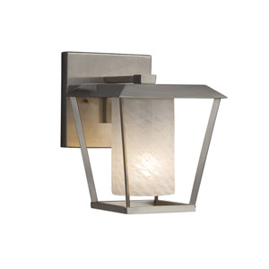 Fusion - Patina Brushed Nickel One-Light Outdoor Wall Sconce with Weave Artisan Glass